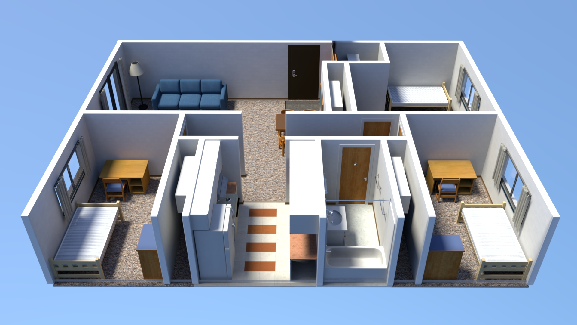 3 Bedroom Apartment Layout From Kitchen