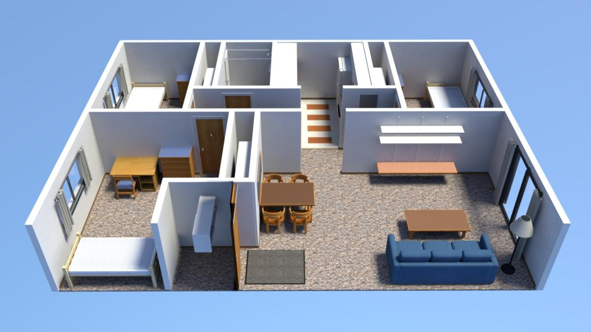 Three Bedroom Floor Plans - Housing, Meal Plan, and I.D. ...